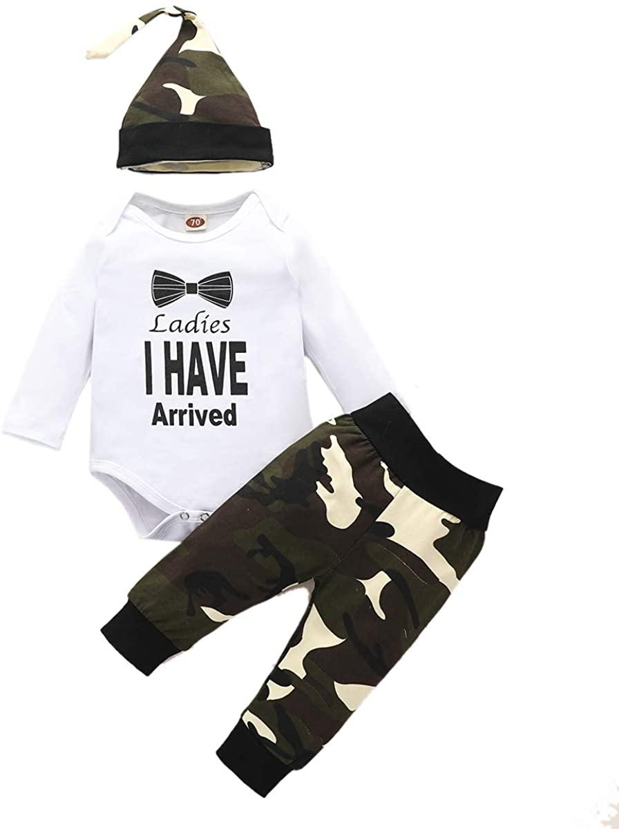Newborn Baby Boy Outfits Autumn Gantleman Romper Top+Camouflage Pants Set Infant Clothes Set Hat