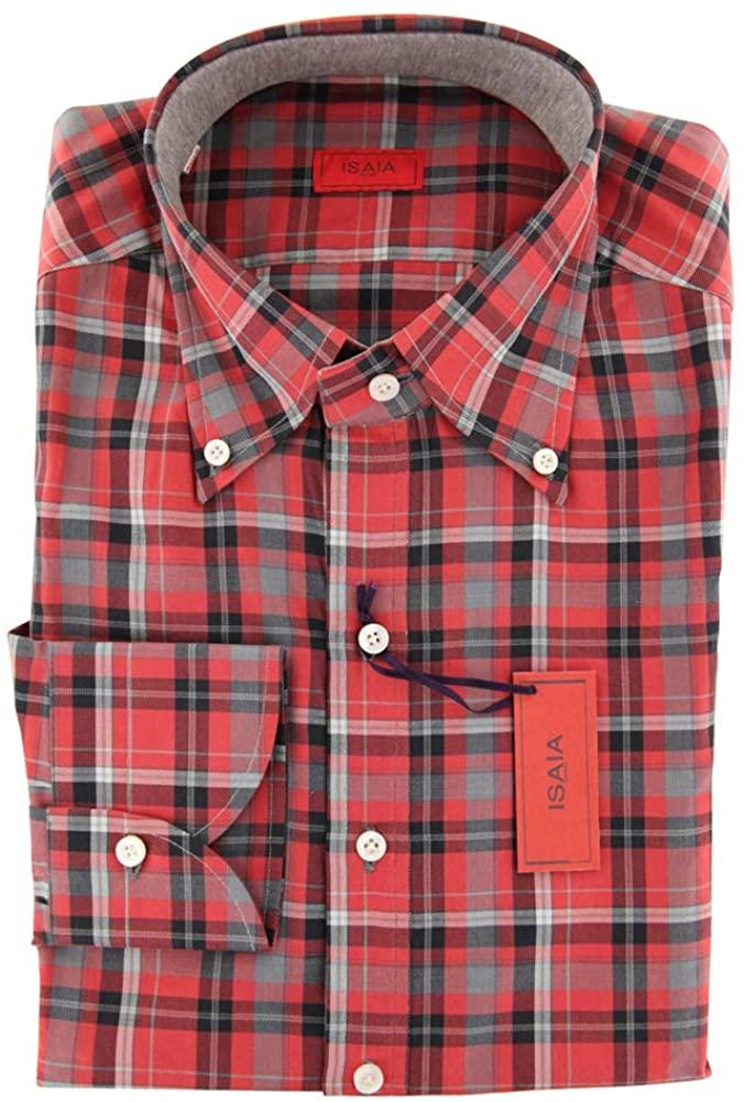 Isaia Plaid Button Down Button-Down Collar Cotton Slim Fit Dress Shirt
