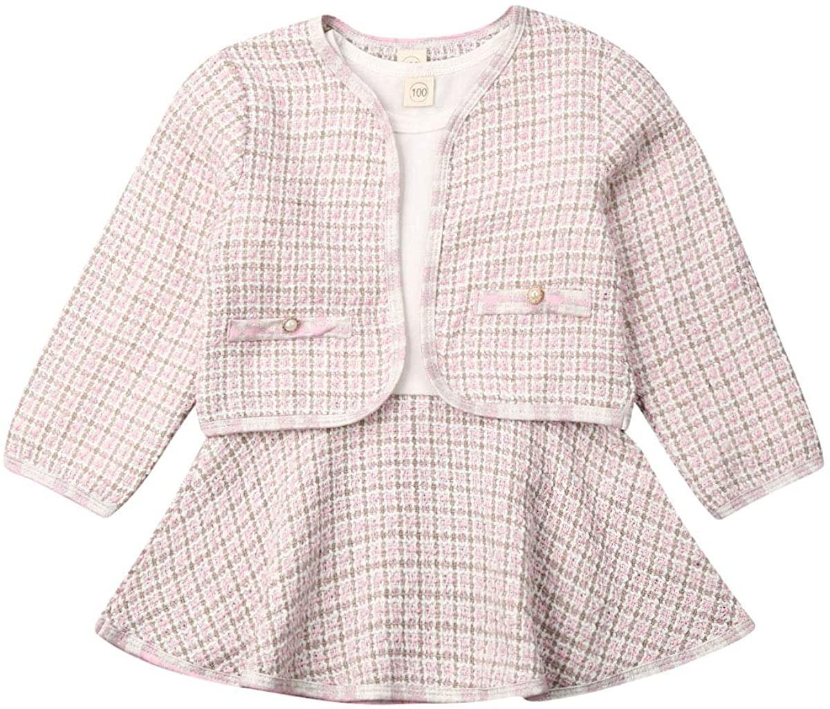 Toddler Baby Girl Plaid Skirt Set Long Sleeve Jacket Coat Tops + Dress Stitching Skirt Party Clothes Set