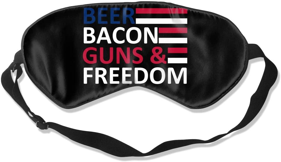 Beer Bacon Gun Freedom Eye Mask Sleeping Mask 100% Double-Sided Silk Eyeshade Eye Cover