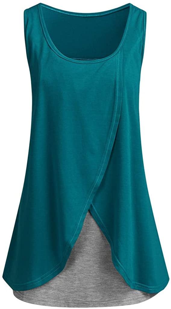 RYGHEWE Women's Nursing Tops for Breastfeeding Sleeveless Asymmetrical Overlay Solid Tank Tops
