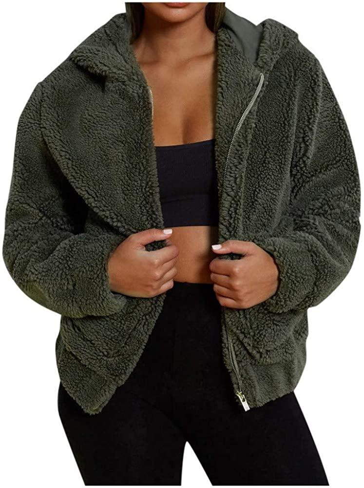 CHIDY Women's Hooded Coat Long Sleeve Zip Up Fleece Jacket Plus Size WinterOuterwearwith Pockets