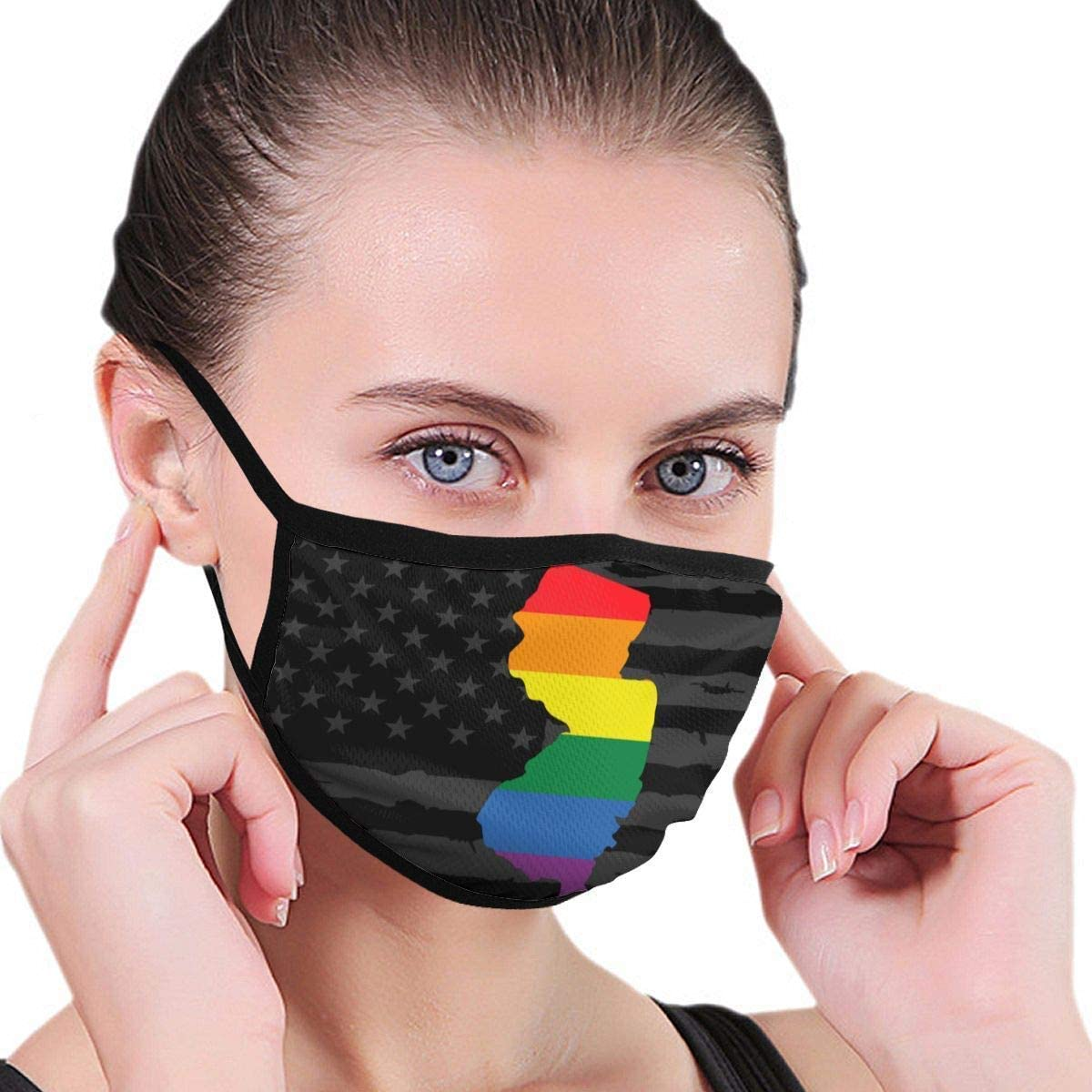 BOKUTT Dust and odor mask Windproof Decorative Covers New Jersey State Pride Reusable Winter Washable Colorful Fashion Outdoor-Washable and reusable