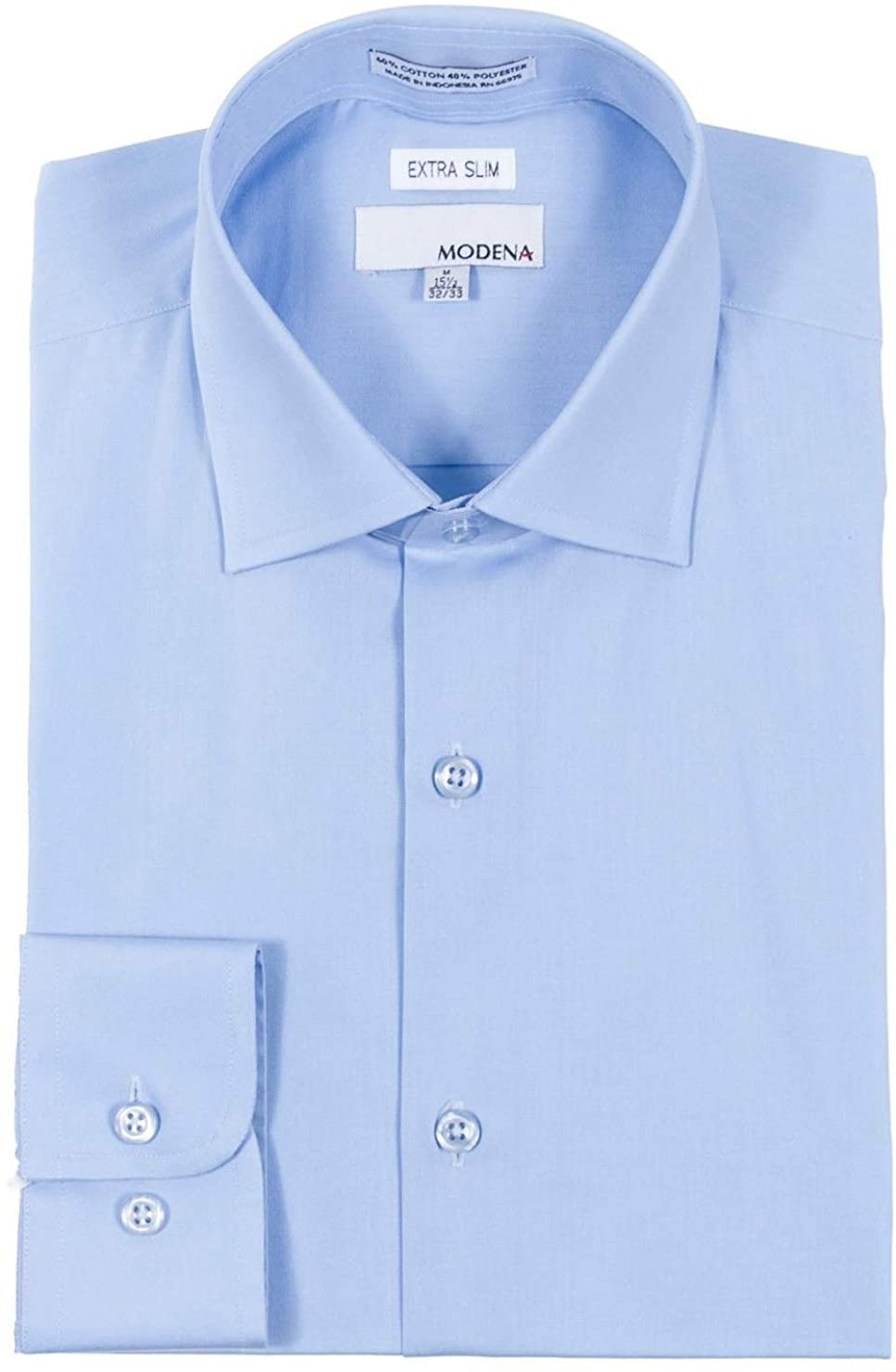 Modena Men's Extra Slim Fit Long Sleeve Solid Dress Shirt - Colors