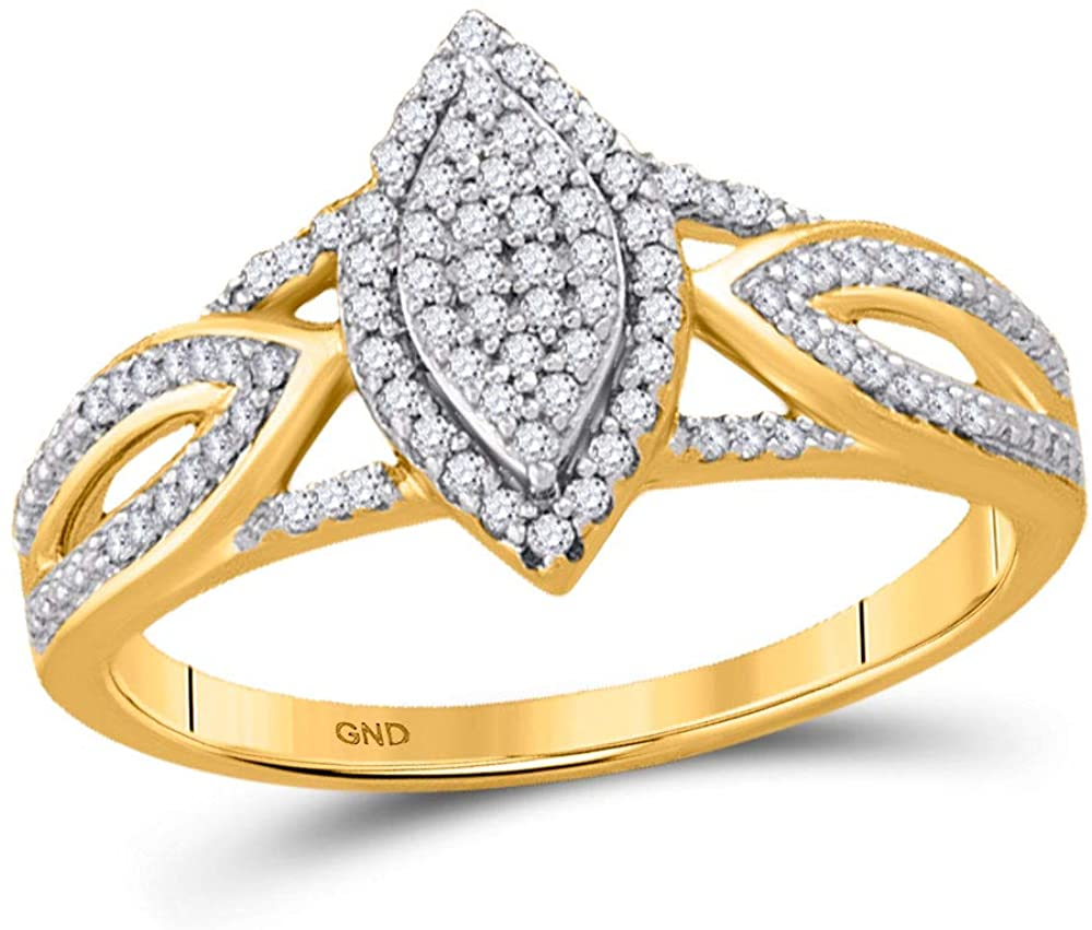 Jewels By Lux 10kt Yellow Gold Womens Round Diamond Marquise-shape Cluster Bridal Wedding Engagement Ring 1/4 Cttw In Pave Setting (I2-I3 clarity; J-K color)