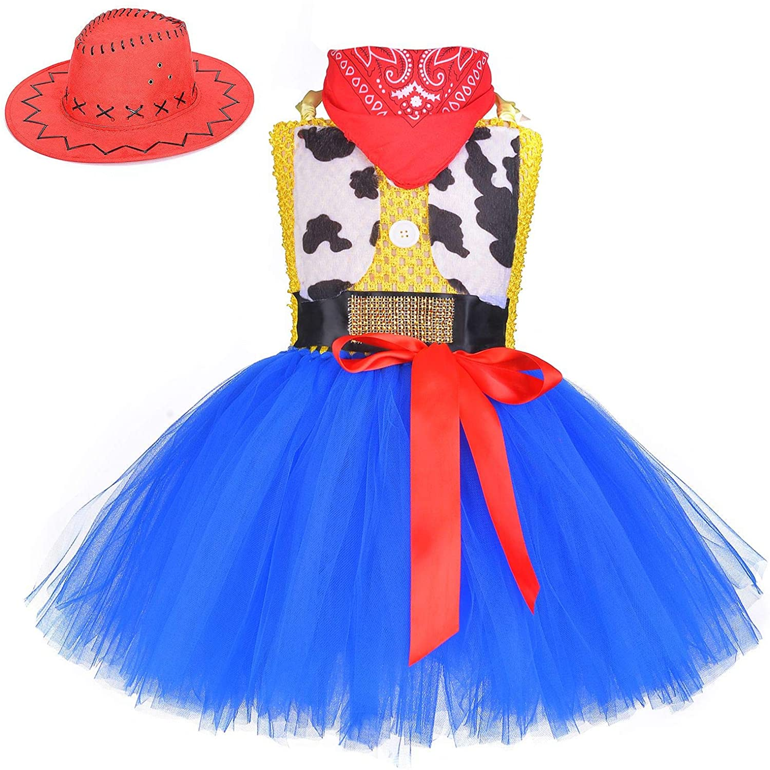 QPANCY Cowgirl Costume for Girls Cowboy Outfits Cosplay Dresses Halloween Party with Hat&Bandana