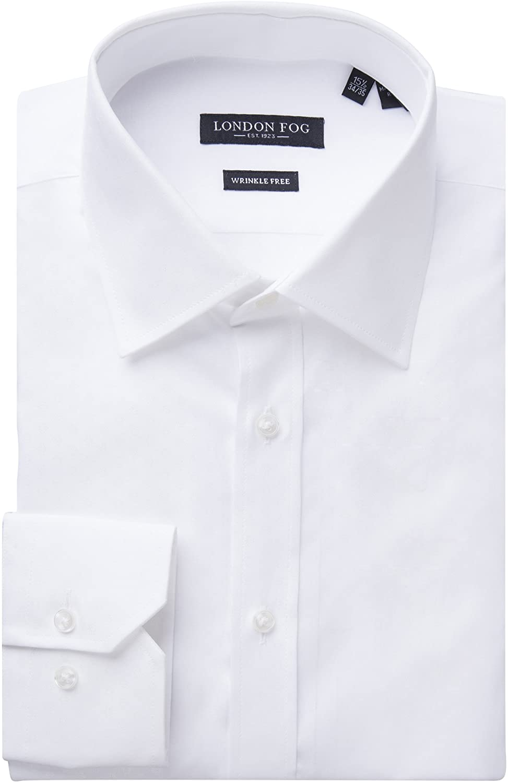 London Fog Men's 100% Cotton Slim Fit Long Sleeve Dress Shirt - Colors