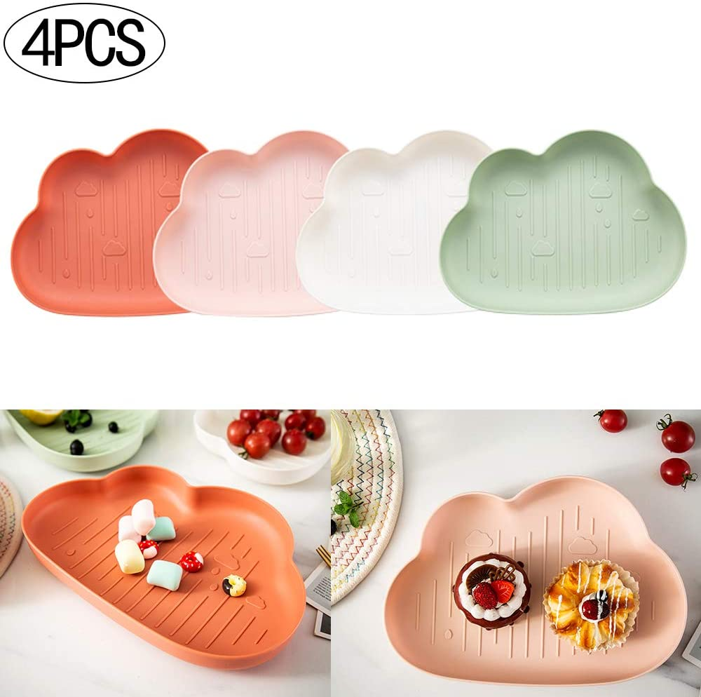 ZPFDM 4pcs Creative Clouds Dried Fruit Storage, Snacks Plastic Box Candy Plate for Nut Sweets Cookies Wedding Home Birthday Party Decor Serving Platter