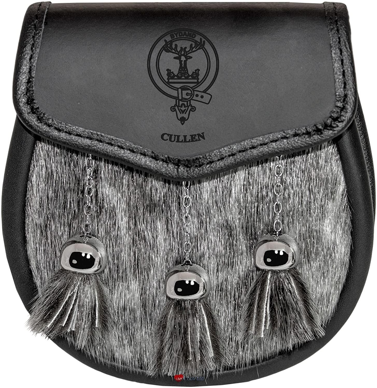 Cullen Semi Dress Sporran Fur Plain Leather Flap Scottish Clan Crest