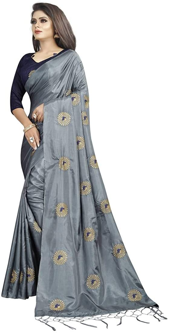 Indian Decor & Attire Dark Grey Embroidered Art Silk Sarees Saree with Blouse Unstitched
