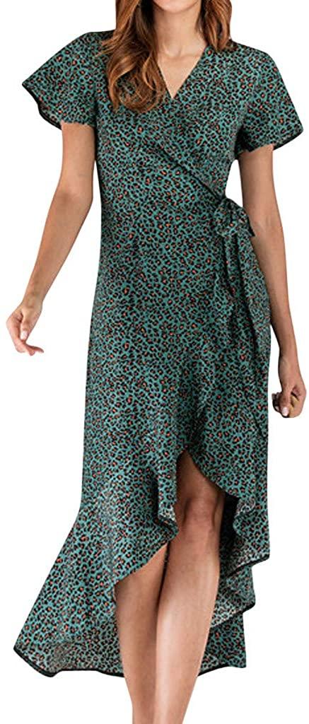 YKARITIANNA Fashion Women Leopard Print V-Neck Ruffles Short Sleeve Bandage Split Dress 2019 Summer