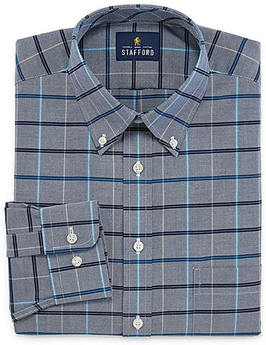 Stafford Travel Wrinkle-Free Stretch Oxford Long-Sleeve Dress Shirt Big (Blue Multi Window, 18.5/34-35)