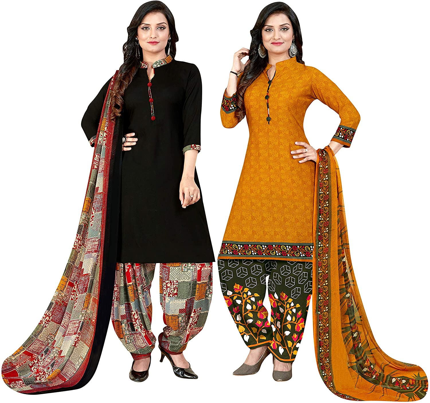 Indian Decor & Attire Women's Black and Yellow Crepe Printed Unstitched Salwar Suit Material (Combo of 2_Free Size)