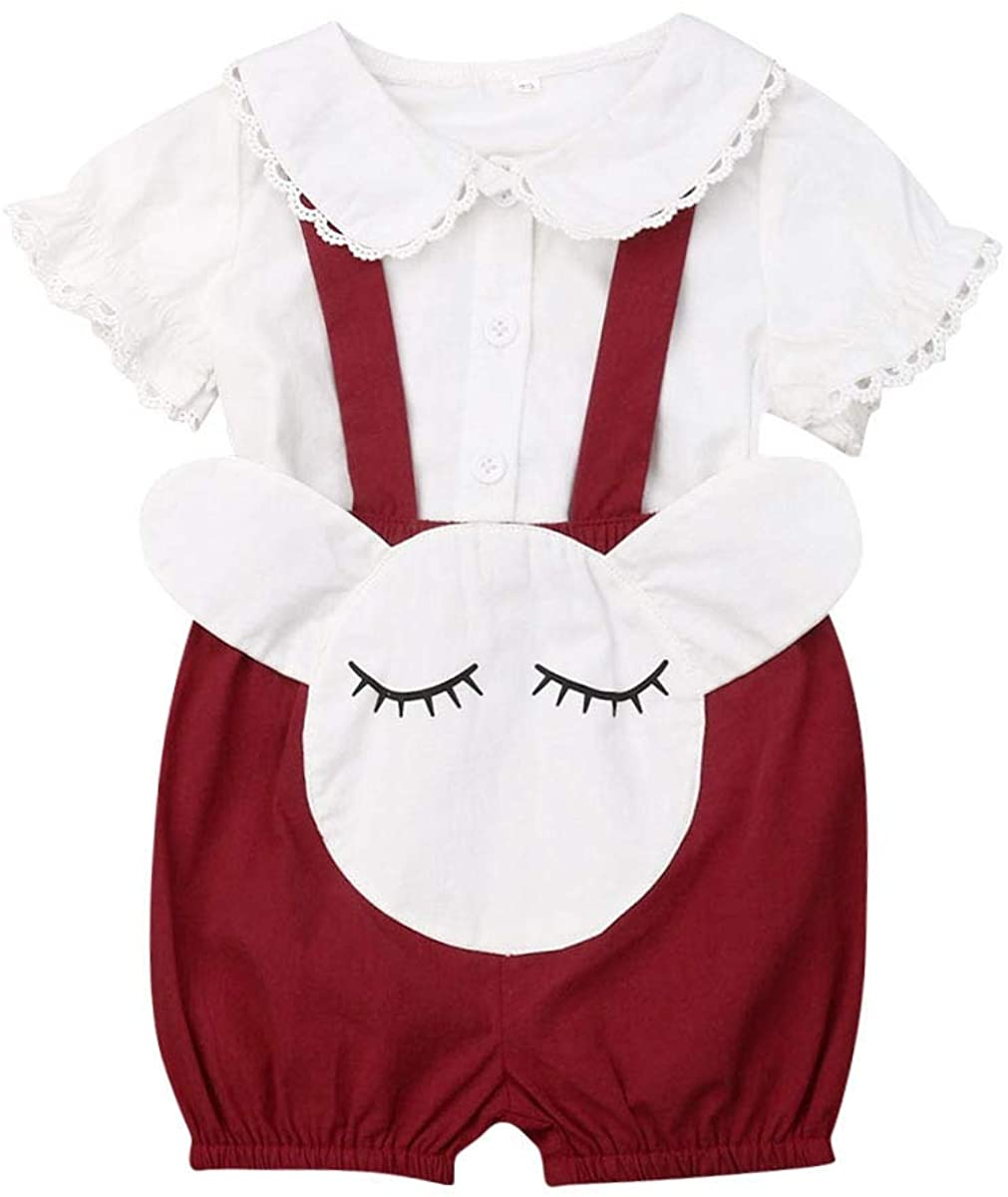 Toddler Baby Girls 2 Pcs Outfit Sets White Lace Ruffle Button Down Shirt+Wine red Cartoon Printed Suspender Shorts 0-18M