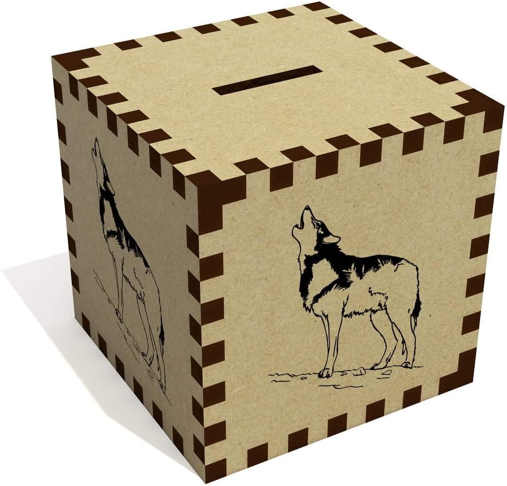 Azeeda 'Howling Wolf' Money Box / Piggy Bank (MB00036647)