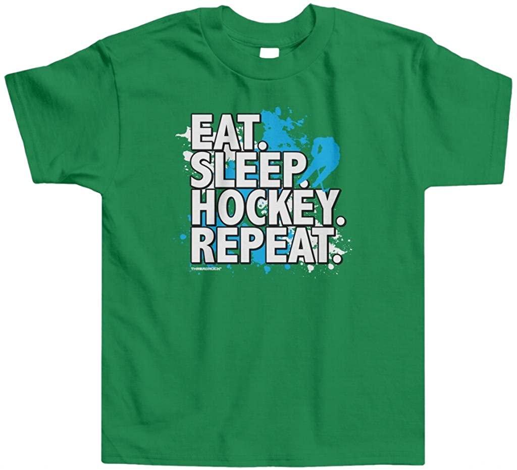 Threadrock Little Boys' Eat Sleep Hockey Repeat Toddler T-Shirt
