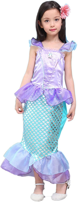 Newland Girl's Kids Little Mermaid Princess Party Dress Costume (130CM(7-8Y)-Size XL) Purple