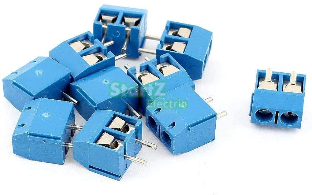 Davitu Terminals - 20pcs Straight Plug IN Screw PCB Terminal Block Connector 5.08mm Pitch bule KF-301-2Pin