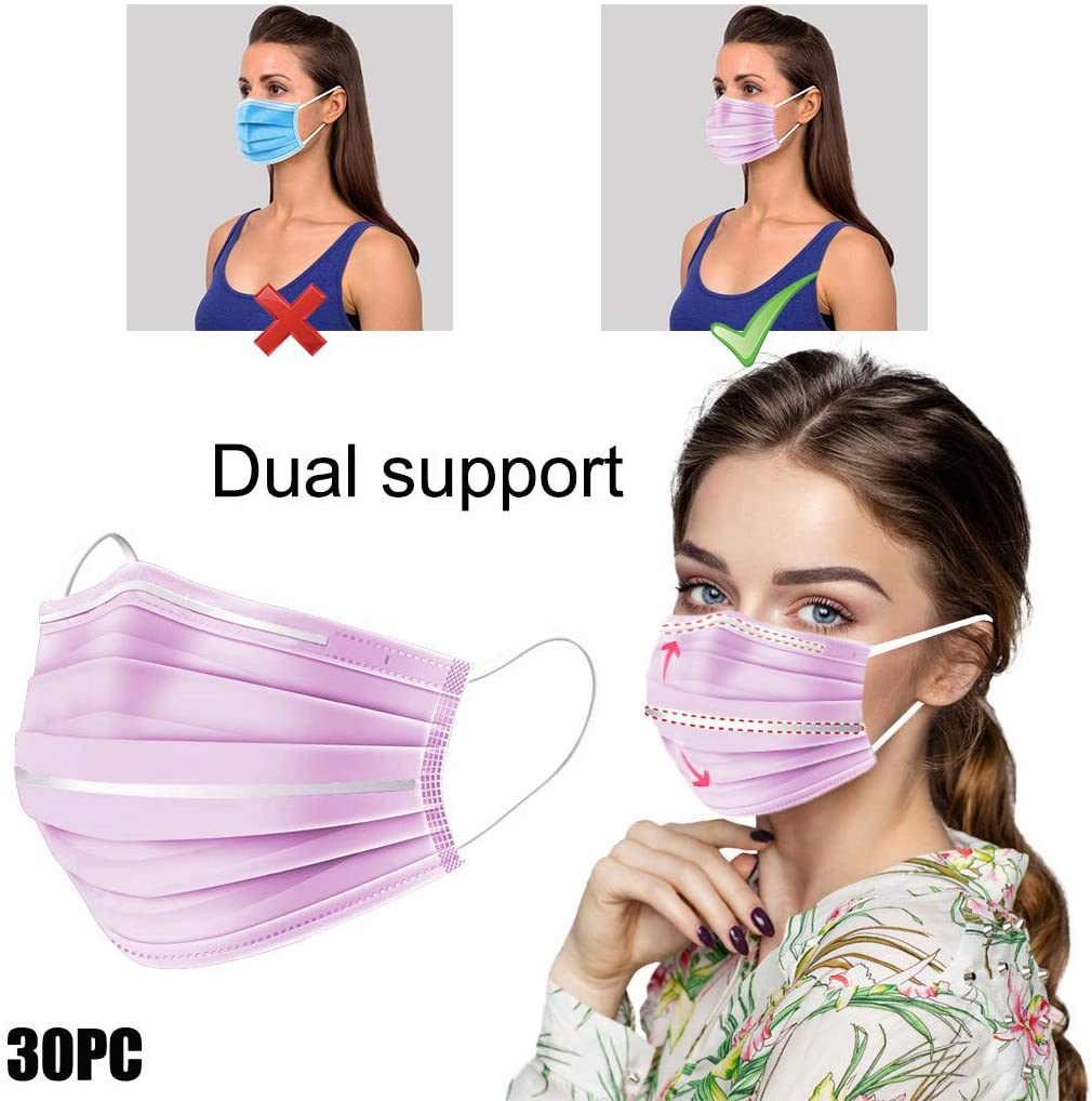 Zhousir 3-Layer Face Covers for Women Air Filter Bandana Covers Ladies 5/10/20/30/50Pcs, 3D Face Cover, Bridge Strip, Face Bandanas, Face Covering for Adults, Lipstick Foundation Protection