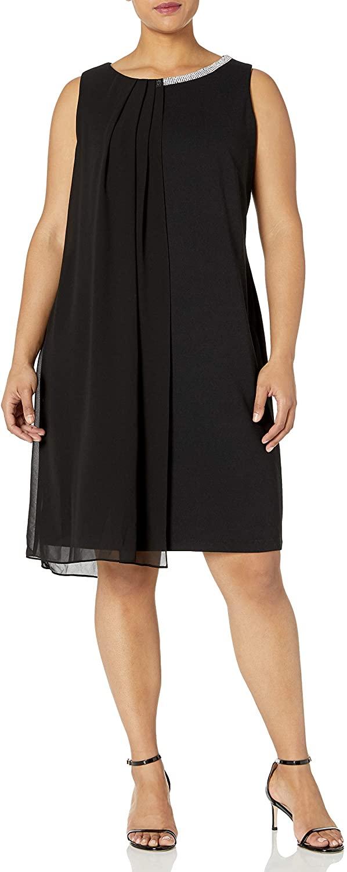 S.L. Fashions Women's Plus Size Embellished Scoop Neck Sleeveless Dress