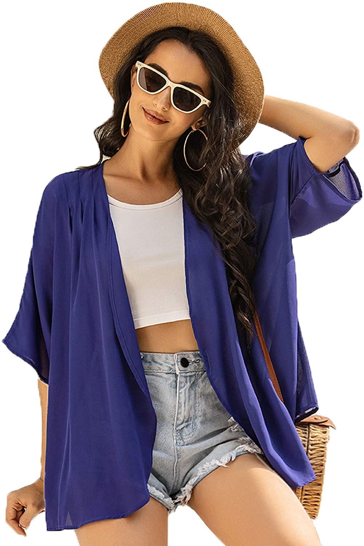 Ekouaer Women's Swimsuit Beach Cover Up Shirt Chiffon Loose Kimono Long Cardigan Purple