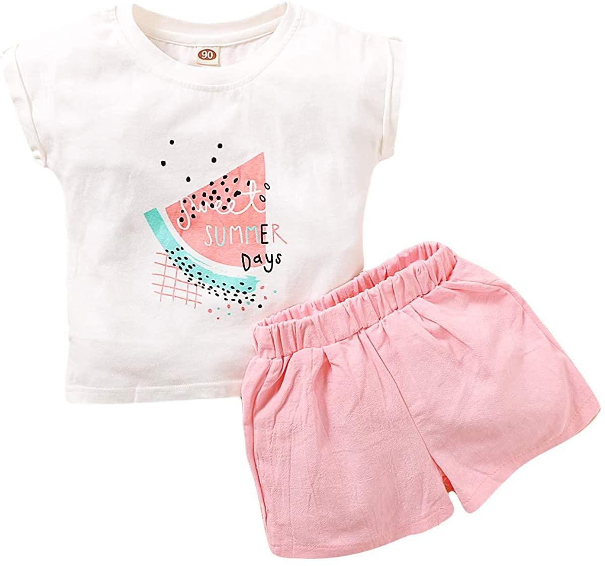 Baby Girls Clothes Watermelon T-Shirt Top + Linen Shorts Casual Summer Short Outfit Set