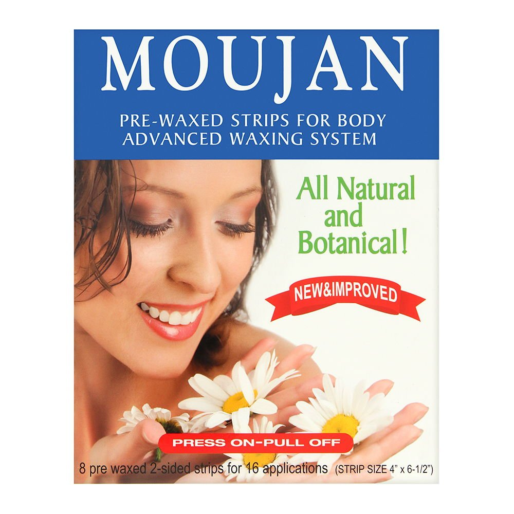MOUJAN 2000 Pre-Waxed Strips For Body (8 Pre-waxed 2 Sided Strips - 16 Applications)