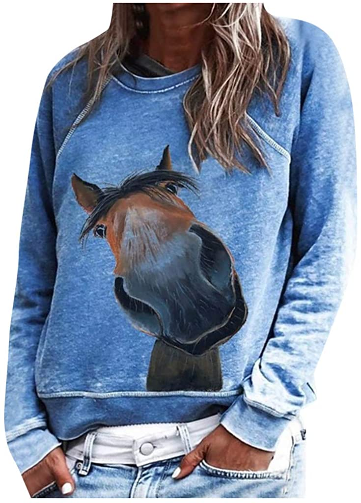 Alangbudu Casual Printed Loose Sweatshirt Long Sleeve Pullover Tops Blouse Animal Tees for Women Autumn Hoodie