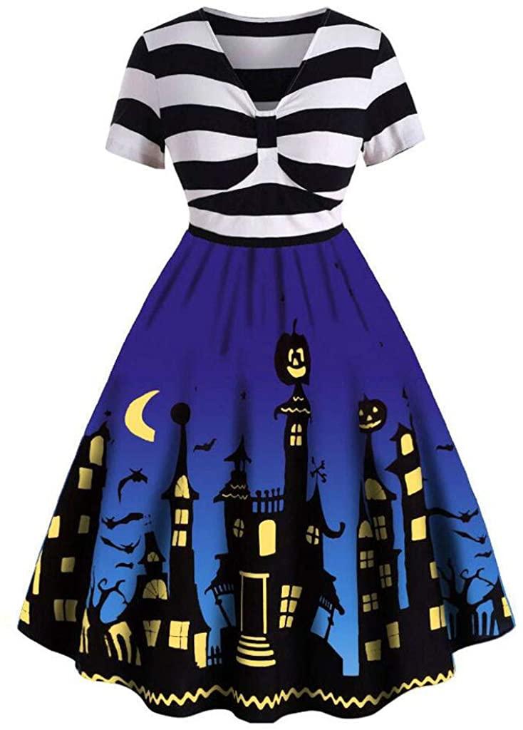 ZEFOTIM Halloween Dresses 2019, Women Vintage Short Sleeve V Neck Halloween Housewife Print Knotted V Back Dress