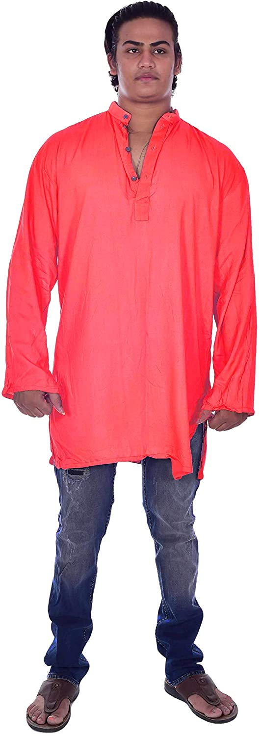 Lakkar Haveli Men's Indian Button Down Shirt Shirt Kurta Solid Red Color Tunic 100% Cotton Plus Size