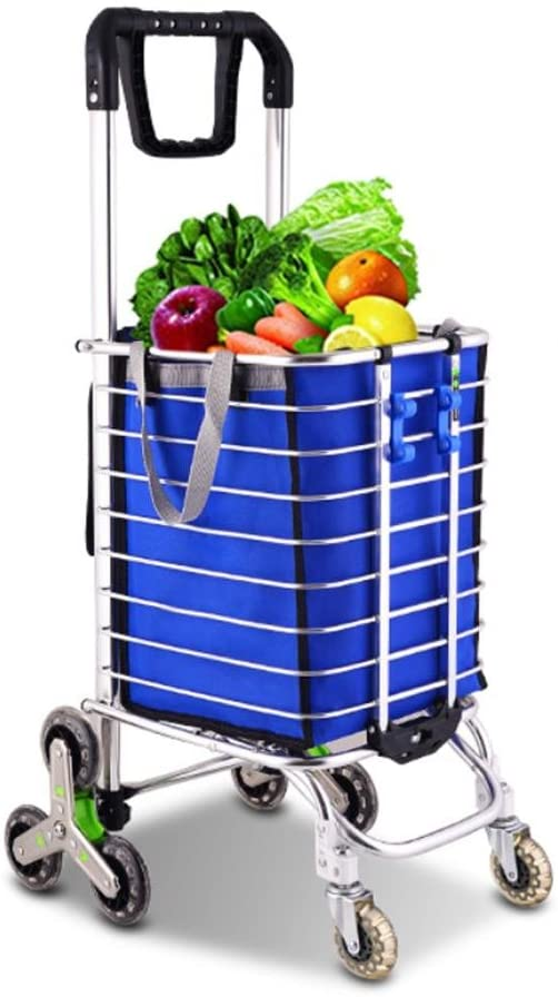 Effortsmy Aluminum Alloy 8 Wheel Shopping Cart Trolley with 360 ° Rotating Handle