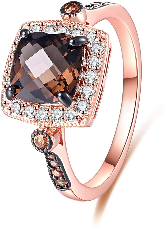 Barzel 18K Rose Gold Plated Created Smoke Topaz & Morganite Ring