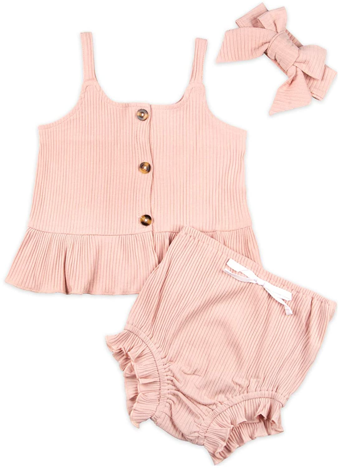 Baby Toddler Girl Summer Clothes 3 Pcs Ruffle Sleeveless Shirt Tops Knitted Pants Short Outfit Set with Headband