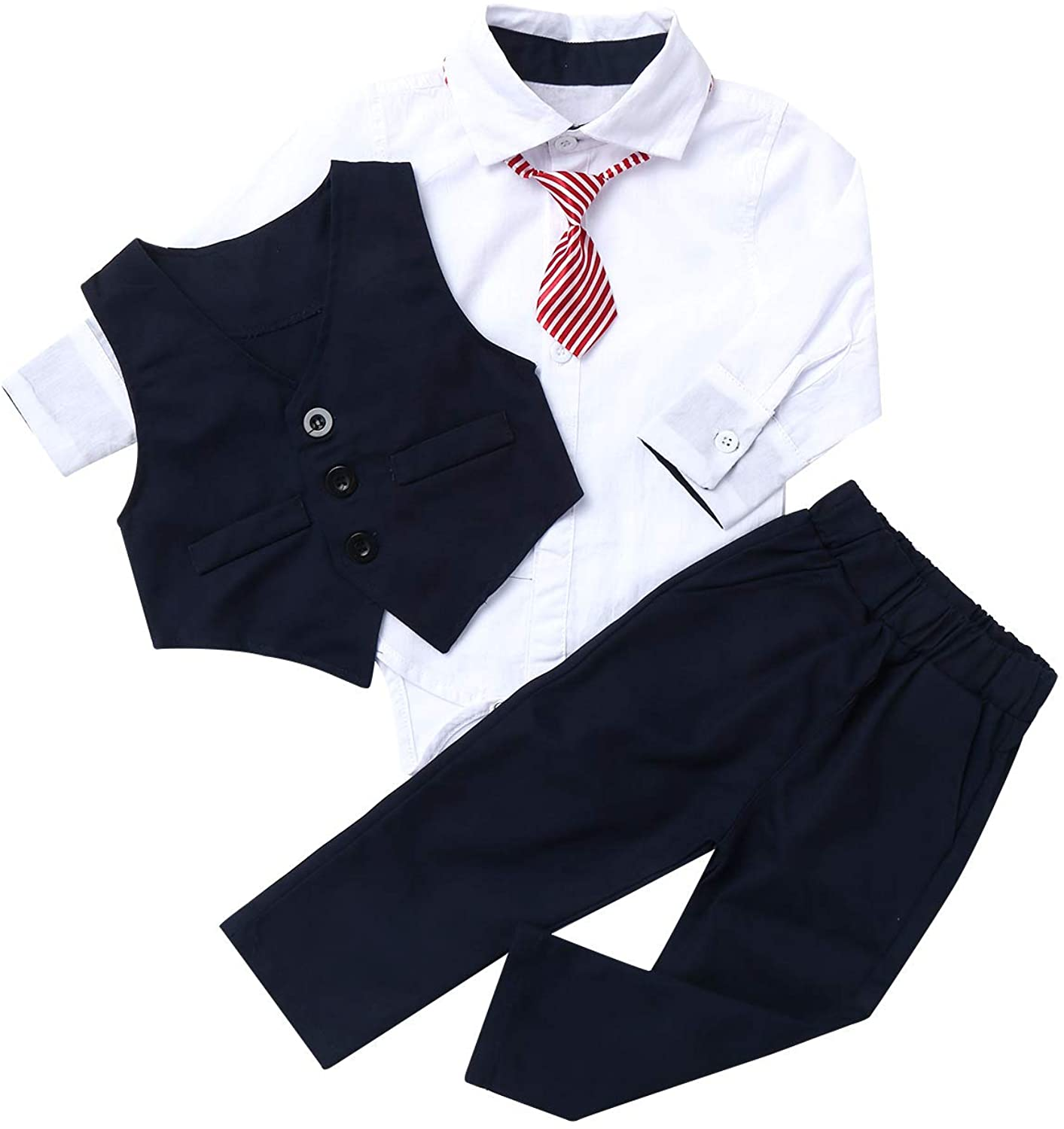 Agoky Kids Baby Boys 1st Birthday Gentleman Outfits Long Sleeve Romper Bodysuit with Pants Vest Bowtie Sets