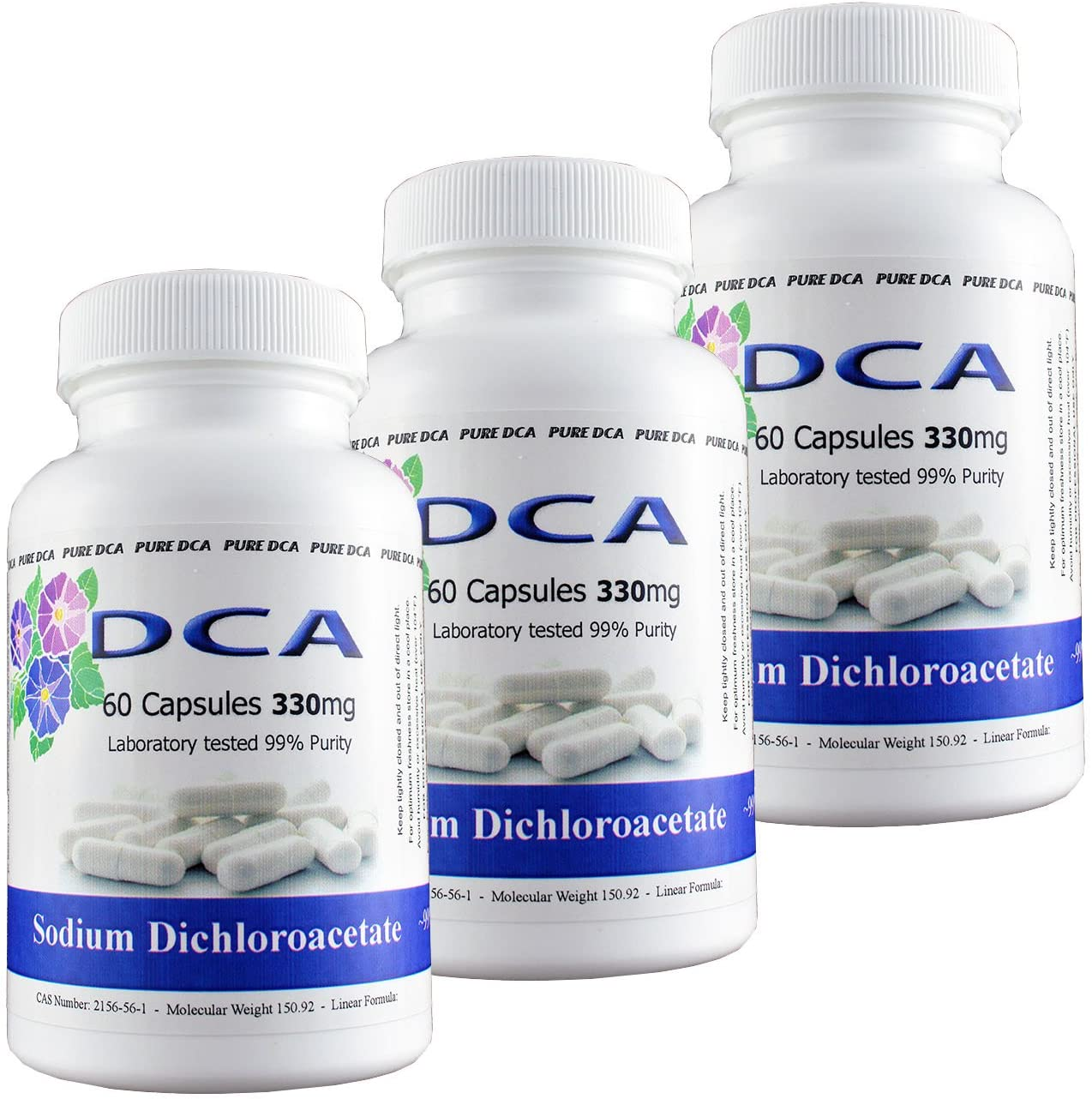 Pure DCA - Sodium Dichloroacetate (180 Capsules) 330mg Vegetarian/Vegan Capsules Complete with Analytical Certificate of Purity - Buy with Confidence 10 Years Worlds Largest Supplier