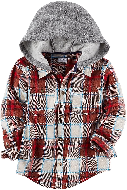 Carter's Boys' 2T-8 Long Sleeve Plaid Zip Up Hoodie