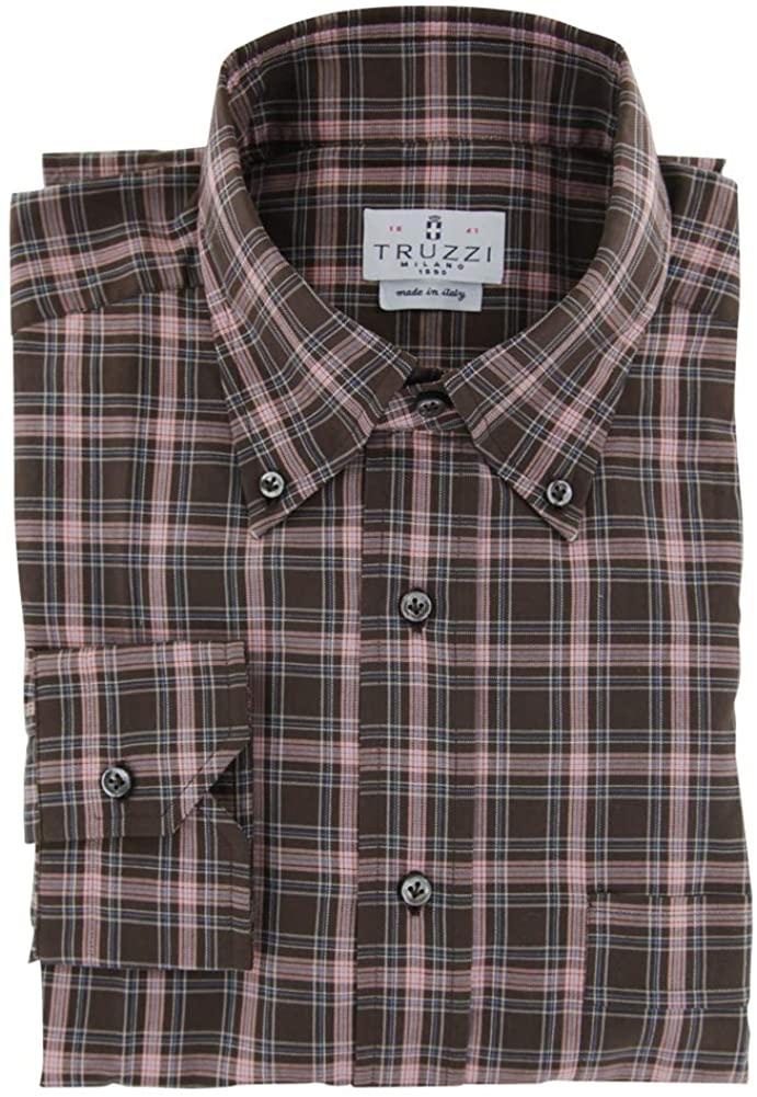 Truzzi Plaid Dark Brown Button Down Collar Cotton Button Down Dress Shirt