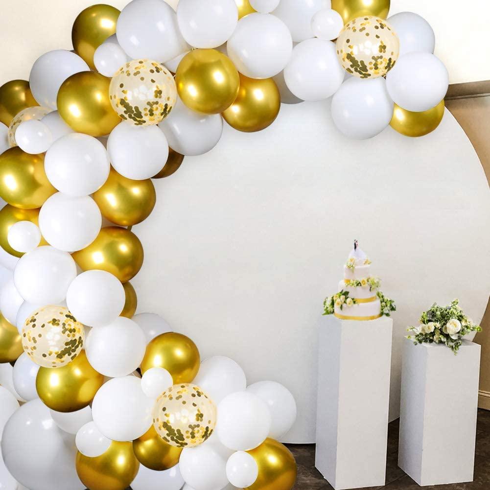 Kyrieval White Gold Balloon Garland Kit 110 Pcs White Balloons Gold Balloons and Gold Confetti Balloons Arch Set for Wedding Birthday Baby Shower Bridal Shower