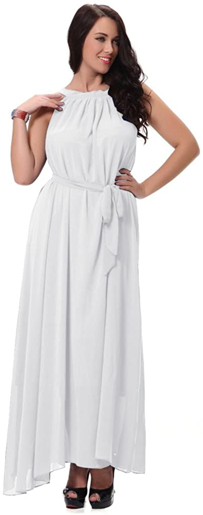 Yacun Women's Chiffon Bridesmaid Swing Casual Maxi Dress Plus Size