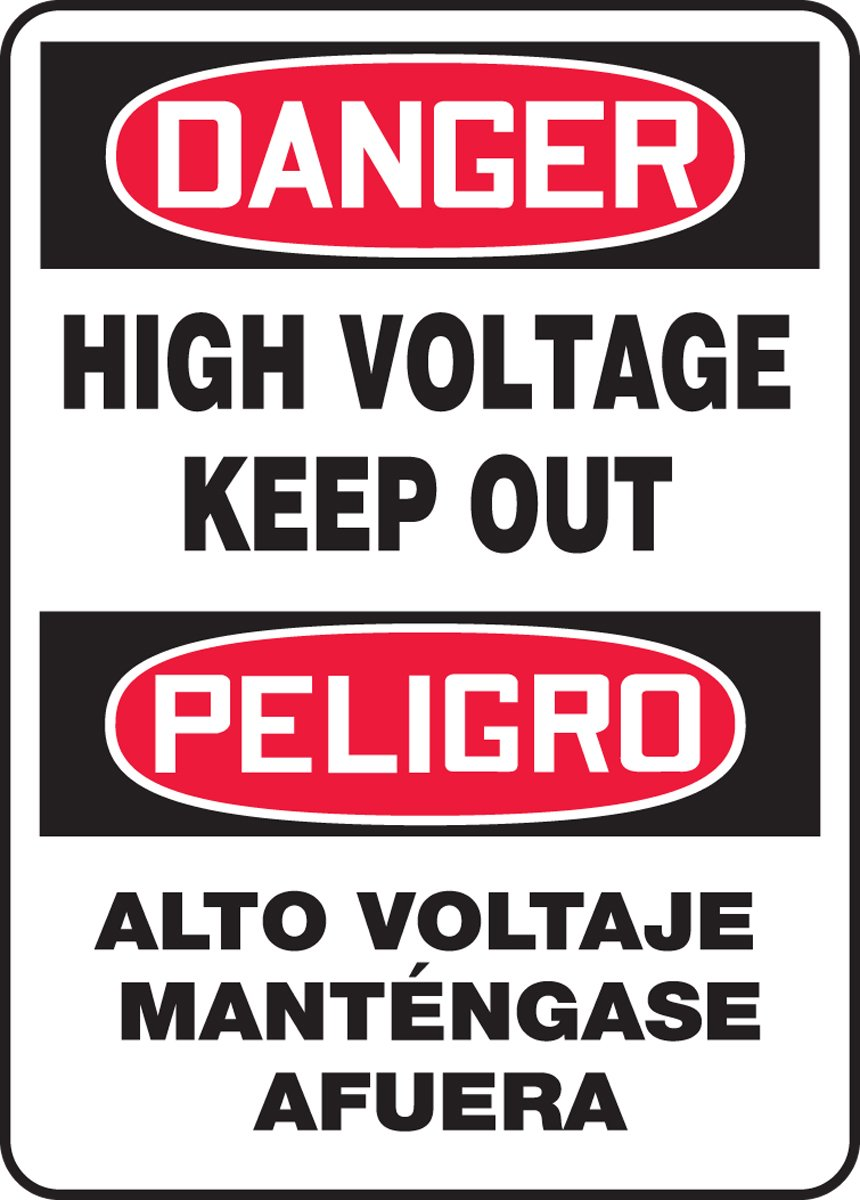DANGER HIGH VOLTAGE KEEP OUT (BILINGUAL) (2 Pack)