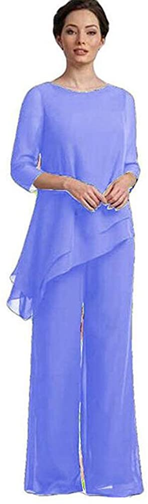 Women Lavender 2 Piece Mother of The Bride Pantsuit Half Sleeve Plus Size for Wedding US26W