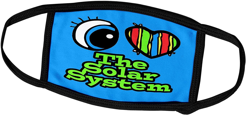 3dRose Dooni Designs Eye Heart I Love Designs - Bright Eye Heart I Love The Solar System - Face Masks (fm_106630_2)