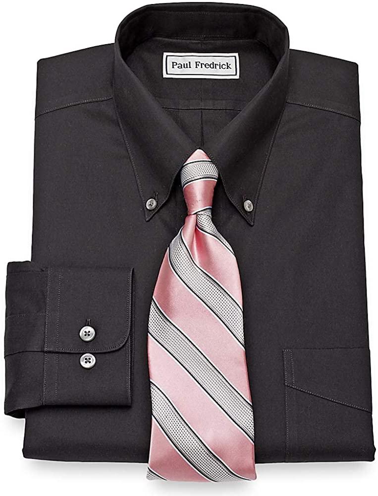 Paul Fredrick Men's Slim Fit Non-Iron Cotton Button Down Collar Dress Shirt Black 16.5/33 8501