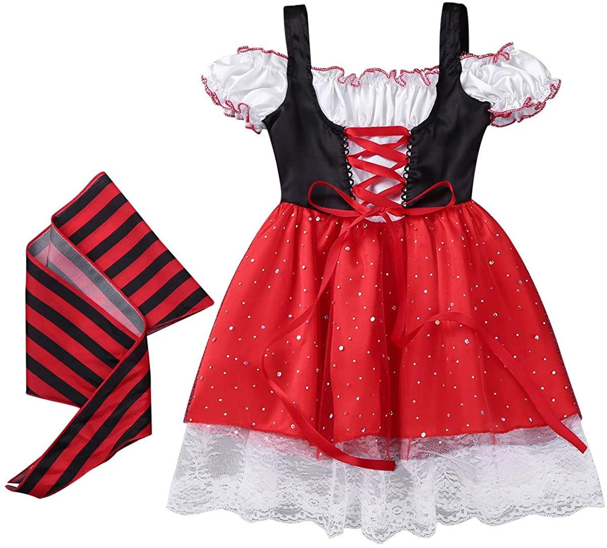 dPois Kids Girls Pirate Costumes Princess Halloween Fancy Dress with Head Scarf Wristband 3PCS Set