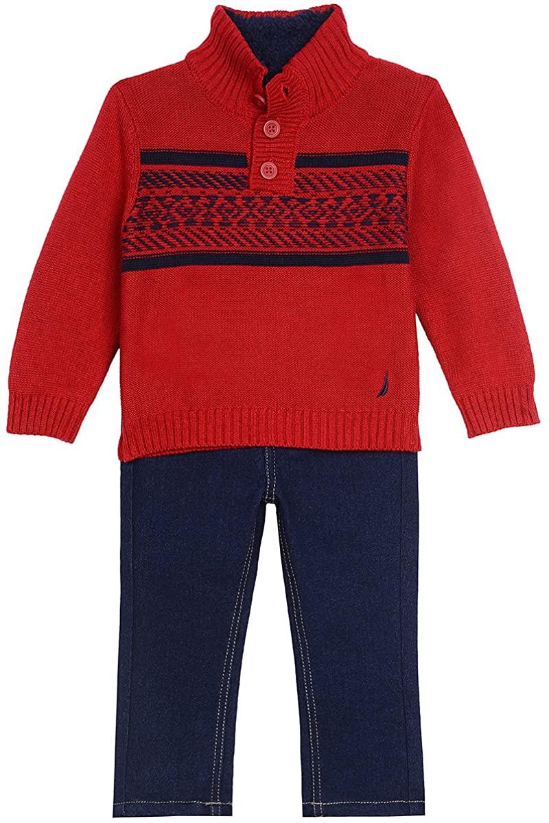 Nautica Boys Sherpa Lined Fairisle Sweater, and Denim Pant Set