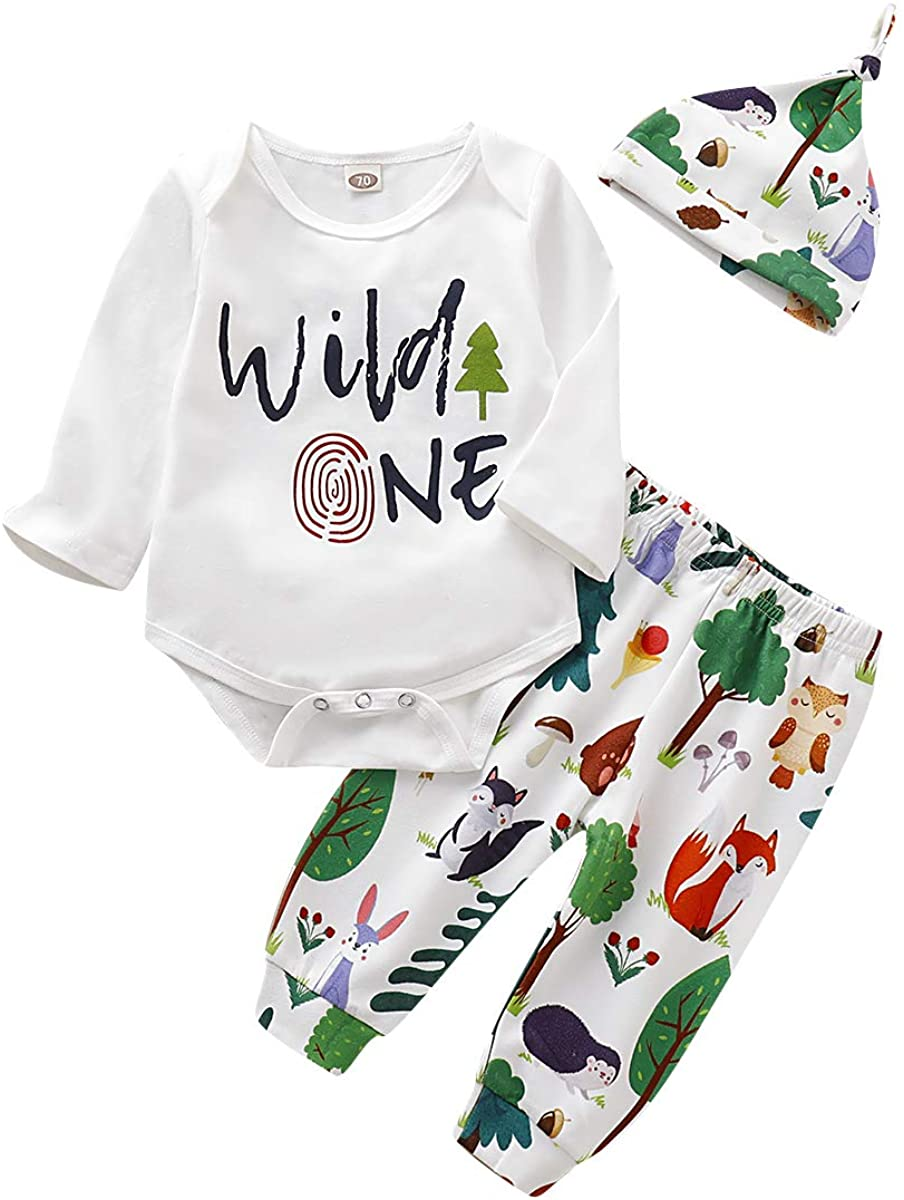 Baby Boys Fall Clothes Set Newborn Wild One Funny Romper + Long Pants with Hat 3Pcs Outfit 0-18M