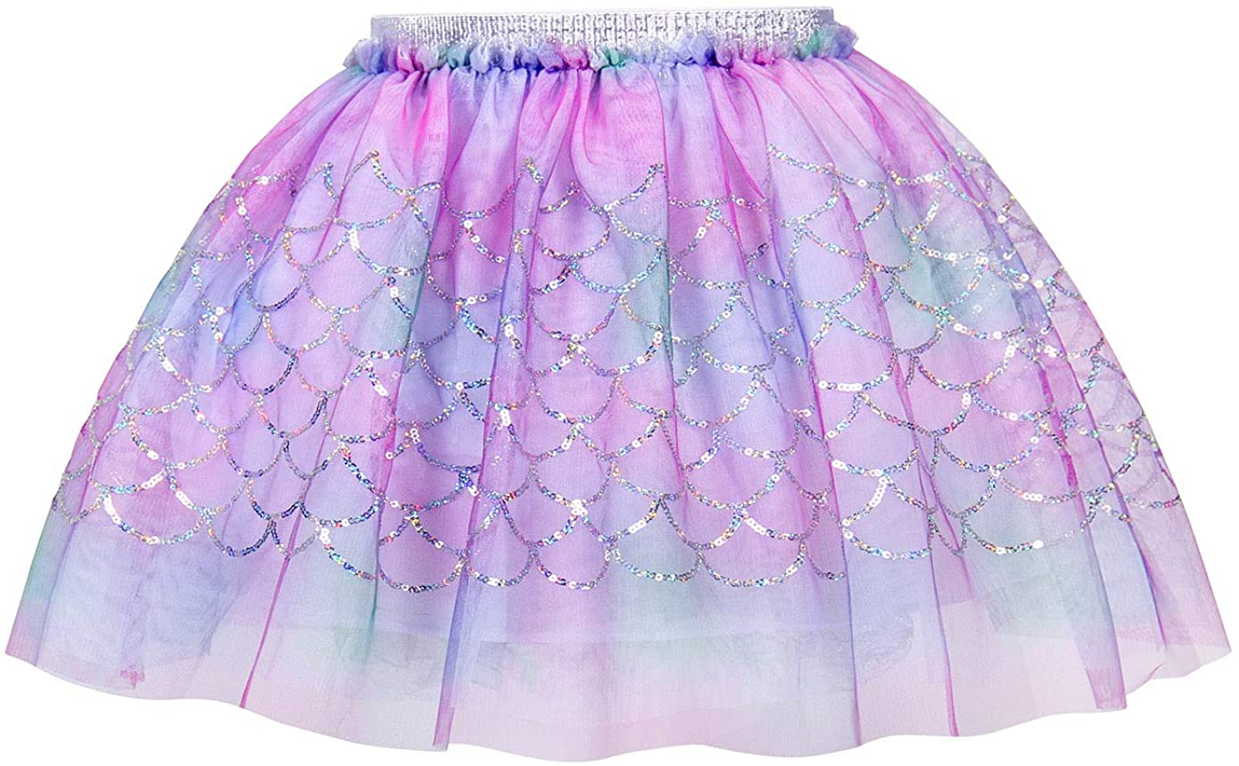 HenzWorld Little Girls Mermaid Fish Scale Tutu Skirt Princess Costume Clothes Halloween Cosplay Party Outfits Kids 2-7 Years