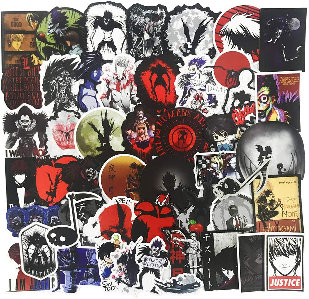 Death Note Stickers 50pcs Pack - Cool Anime Stickers for Laptop Water Bottle Luggage, Trendy Stickers for Skateboard Phone Hydro Flasks Bike