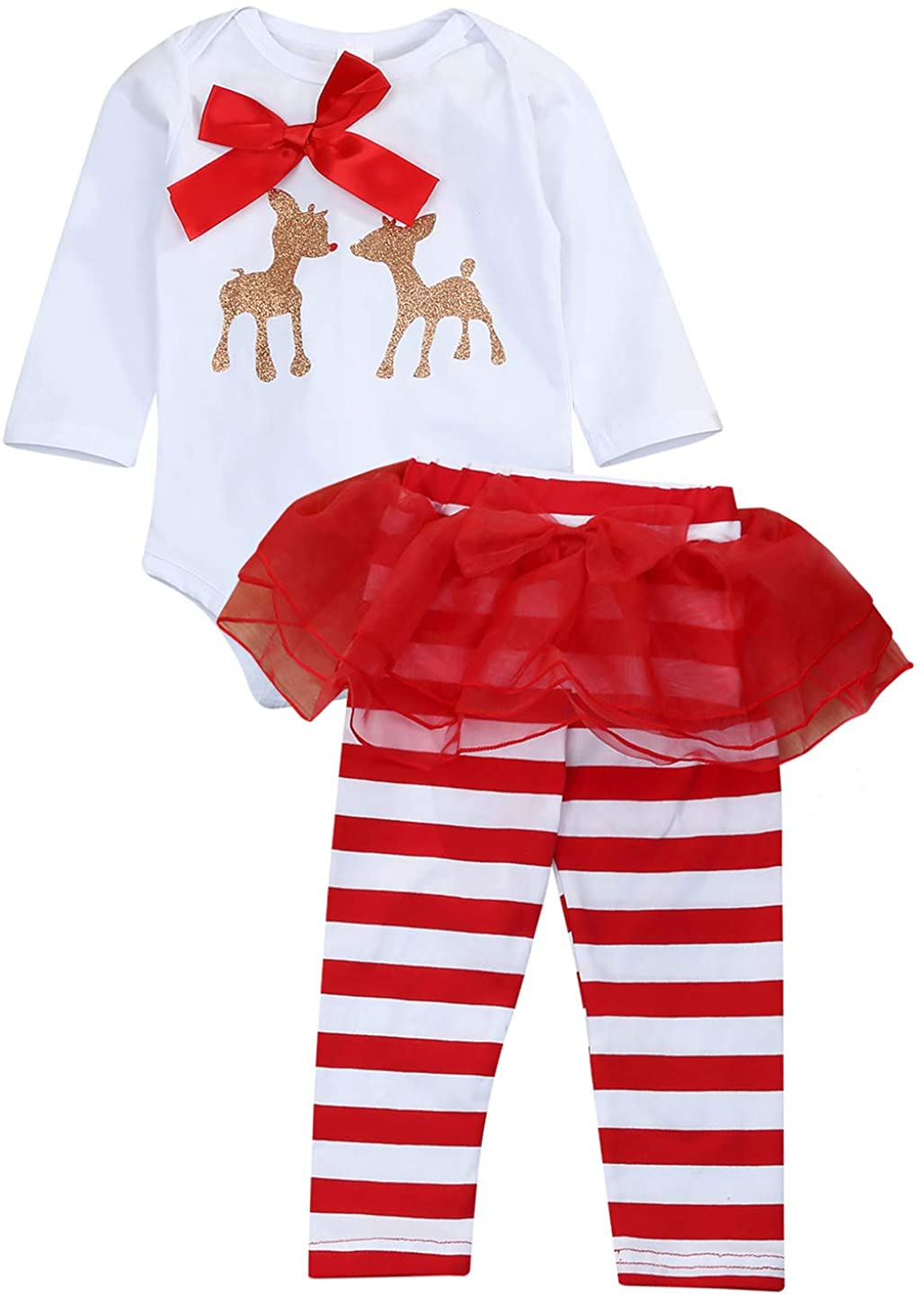 KONIGHT Infant Baby Girls Christmas Outfit Deer Romper with Striped Pants Set