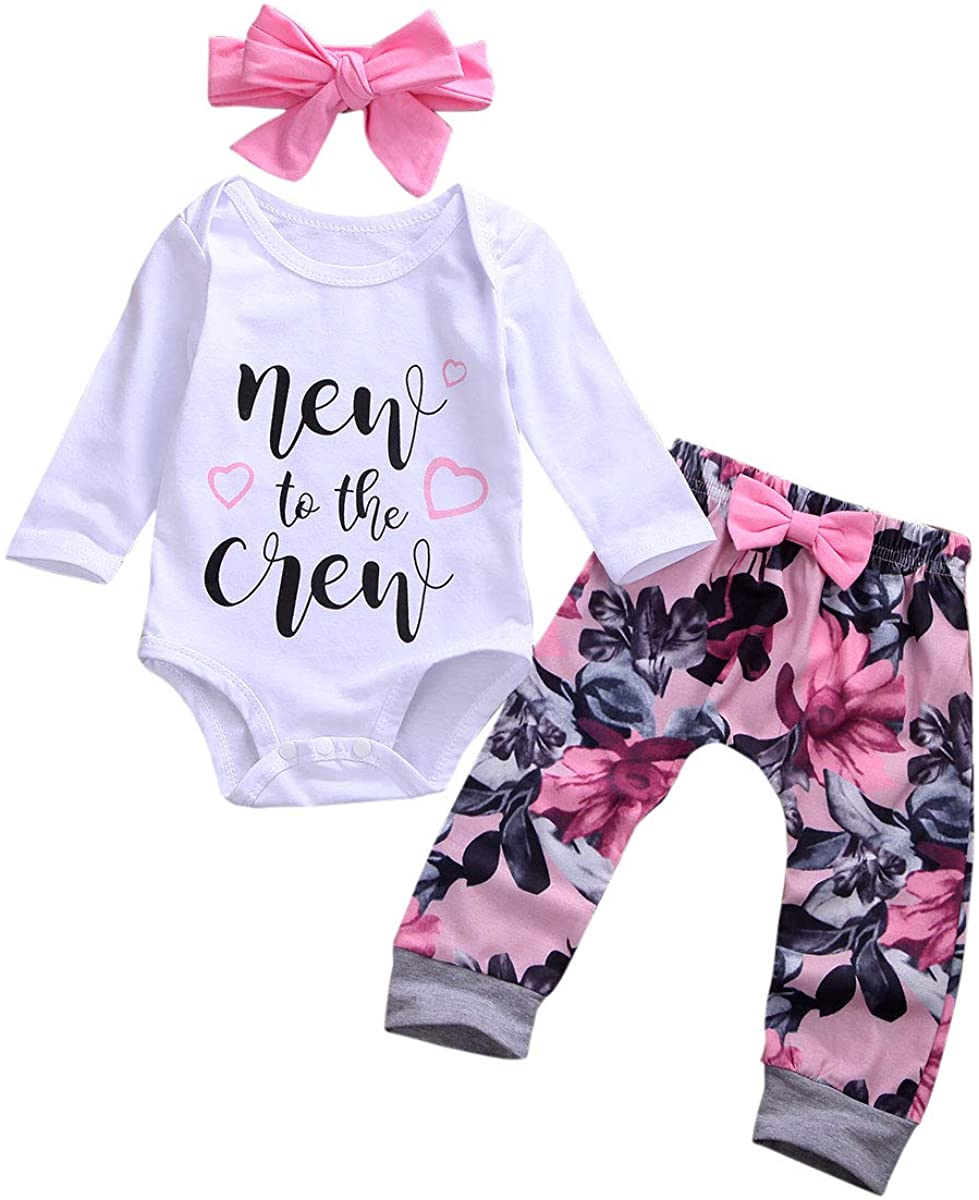 Newborn Baby Girl Clothes Long Sleeve Letter Romper Tops Jumpsuit Floral Pants with Headband or Hat Outfits Set